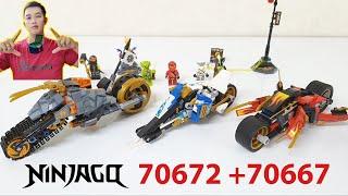 Lego Ninjago Siêu Xe Sa Mạc của Cole Mô tô Lưỡi Kiếm của Kai Mô tô Băng Giá của Zane Toy Channel