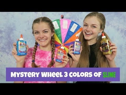 Mystery Wheel 3 Colors of Slime Challenge ~ Jacy and Kacy