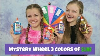 Mystery Wheel 3 Colors of Slime Challenge ~ Jacy and Kacy