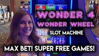 Taking a GAMBLE on Max Bet Wonder 4 Wonder Wheel! Slot Machine SUPER Free Games!!!