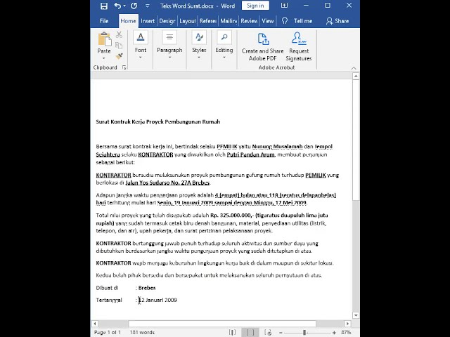 Tutorial Belajar Kursus Komputer Ms. Word Cara Membuat Surat Kontrak Kerja Proyek Pembangunan Rumah