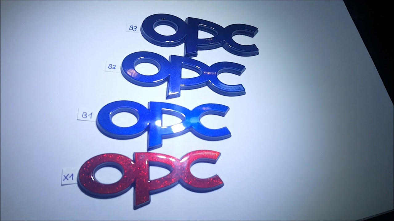 GM OPEL OPC Logo Schriftzug Emblem Candy Metal Flakes Rot Blau