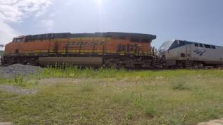 Amtrak EmpireBuilde 8 lead with BNSF locomotive and private varnish