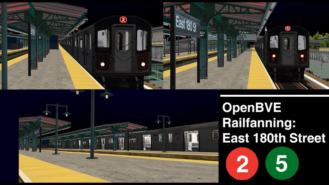 OpenBVE: Railfanning at East 180th Street (2)(5) Lines - Youtube