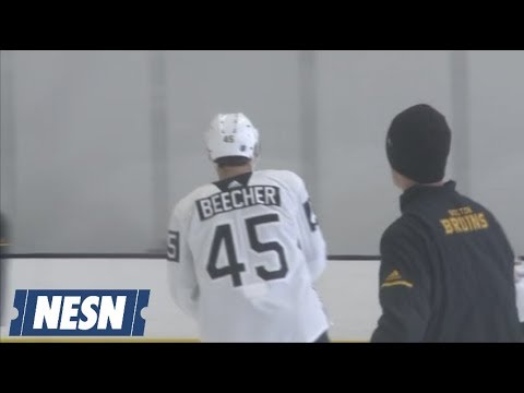 huge selection of 738e5 bd342 John Beecher Dons A Boston Bruins Jersey For The First Time