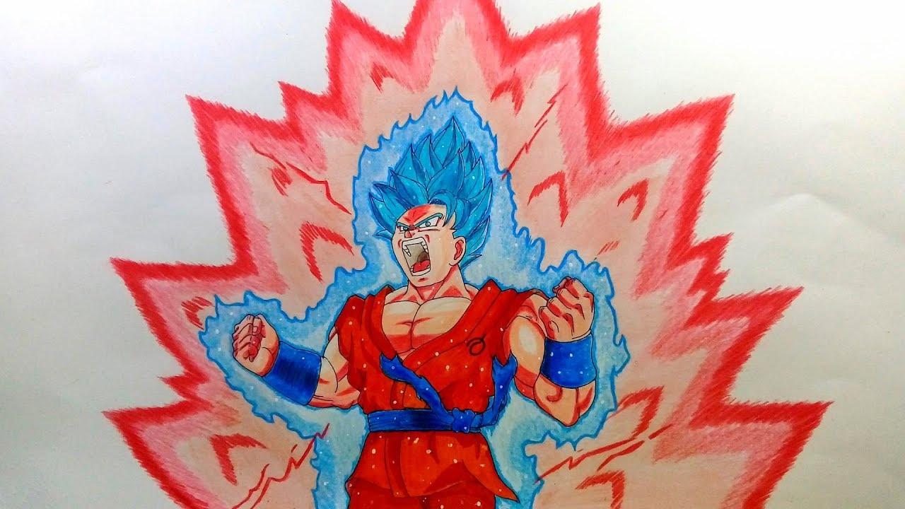 Como Dibujar A Goku Super Sayayin: Super Saiyayin Dios Azul Kaioken X10