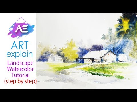 Simple Landscape Watercolor Painting Tutorial | How to paint a watercolor landscape | Art Explain