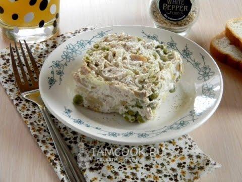 Салат с консервированными шампиньонами и курицей — видео рецепт