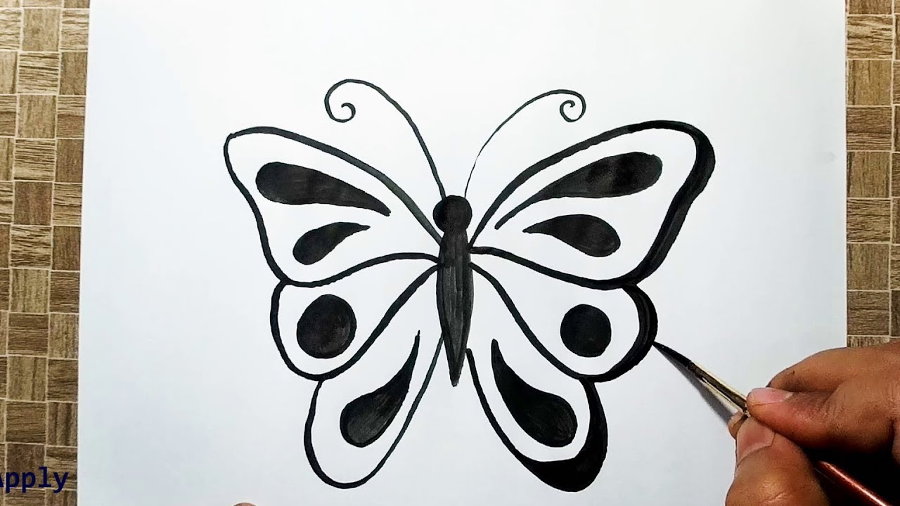 How to draw a simple butterfly easy and cute