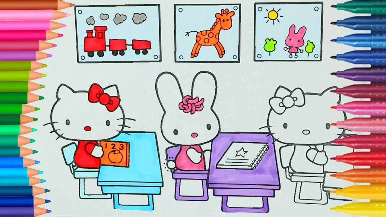 Okullar Aciliyor Hello Kitty Okulda Cizgi Film Karakteri Boyama