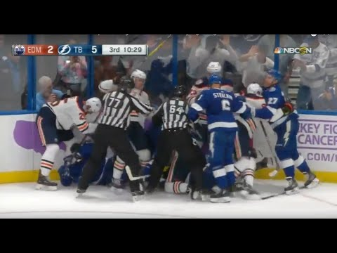 Milan Lucic attacks Mathieu Joseph Line Fight Ensues Tampa Bay Lightning vs Edmonton Oilers 11/6/18
