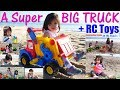 The BIGGEST TOY Truck ever! Beach Toy Trucks Playtime with Hulyan and Maya. Toys Channel
