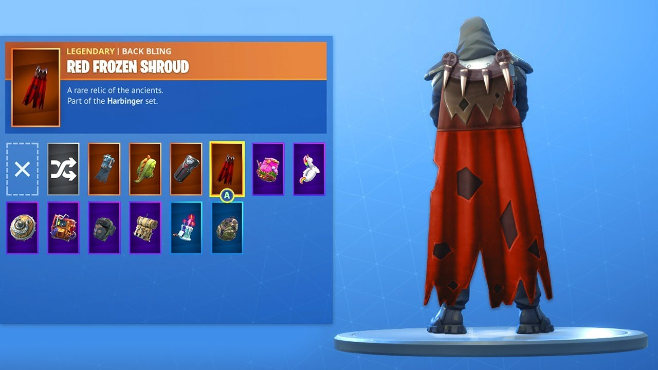 Fortnite Cape red frozen shroud back bling on all of my skins! (fortnite battle royale)