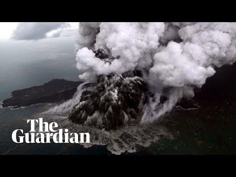 Anak Krakatau volcano erupts before and after tsunami