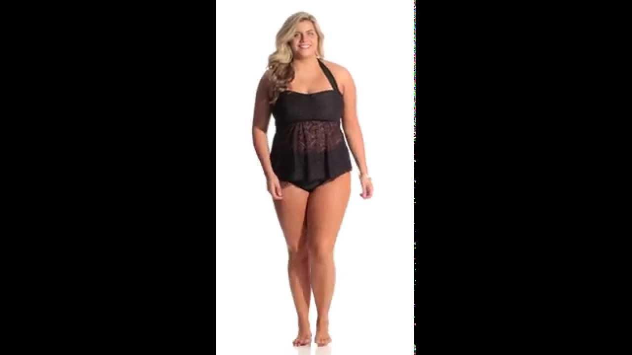 e0a7a4cc73280 Jessica Simpson Plus Size Cut Out Crochet Bandeau Tankini | SwimOutlet.com