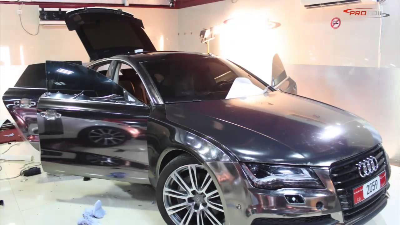 Car Wrap Dubai Audi A7 Wrapped In Black Chrome Done By