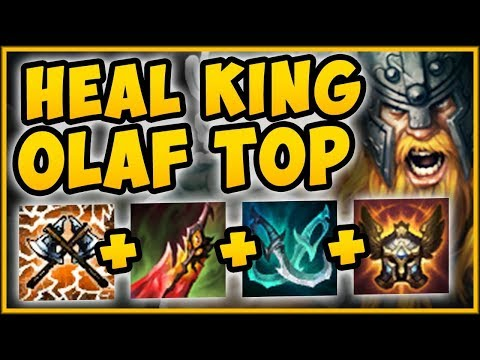 NEW HEAL KING OLAF TOP 100% OUTHEAL ALL DMG TAKEN OLAF SEASON 9 TOP GAMEPLAY - League of Legends