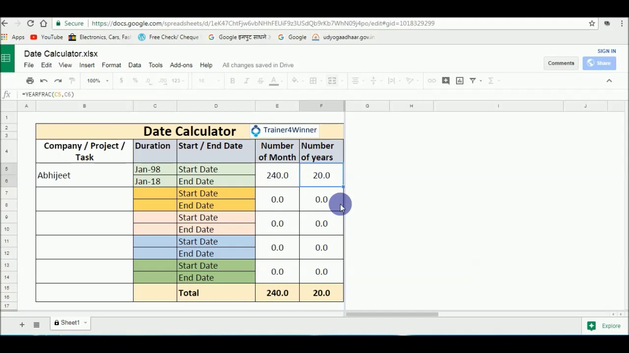 Free Date Calculator On Google Sheets Excel sheet YouTube – Free Excel Spreadsheet App