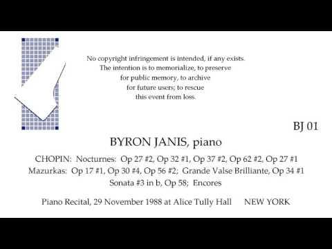 BYRON JANIS  AllCHOPIN Recital  live 29 November 1988  NEW YORK