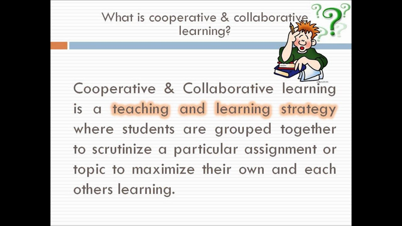statistics on cooperative learning Cooperative learning (ie, jigsaw, learning together, group investigation, student teams-achievement divisions, and teams-games-tournaments) is a generic term that is used to describe an instructional arrangement for teaching academic and collaborative skills to small, heterogeneous groups of.