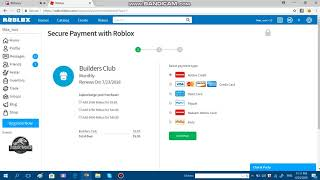 Buying Roblox Builder's Club Monthly