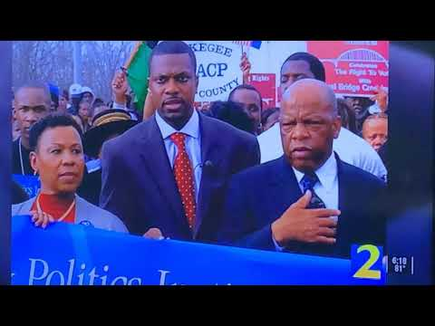 U.S. Congresswoman Barbara Lee In Photo With The Late John Lewis And Chris Tucker On WSBTV