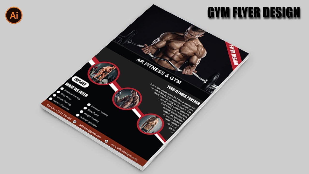 fitness gym brochure design in illustrator cc 2018 gym flyer