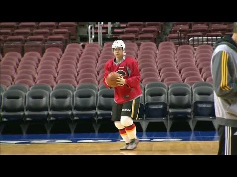Jiri Hudler Plays Basketball In Hockey Gear