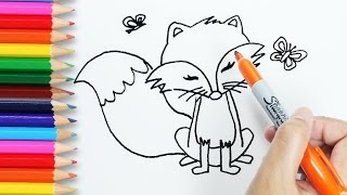 Drawing and coloring tutorial for kids learn how to draw Fox