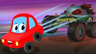 Little Red Car rhymes | Run Little Red Car Run | The Haunted House Monster Truck | Episode 51