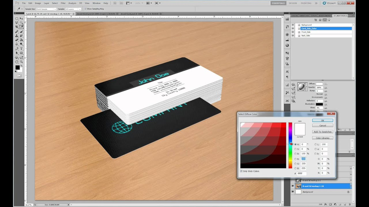 business card 3d mockup 1 youtube