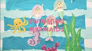 Swimming Mermaid Paper Craft with Free Printable Templates
