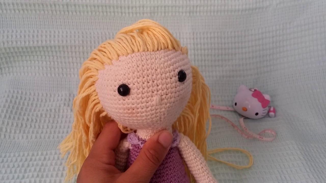 Amigurumi Bebekte Saç Yapımı : Amigurumi bayan lila bebek saç yapımı youtube