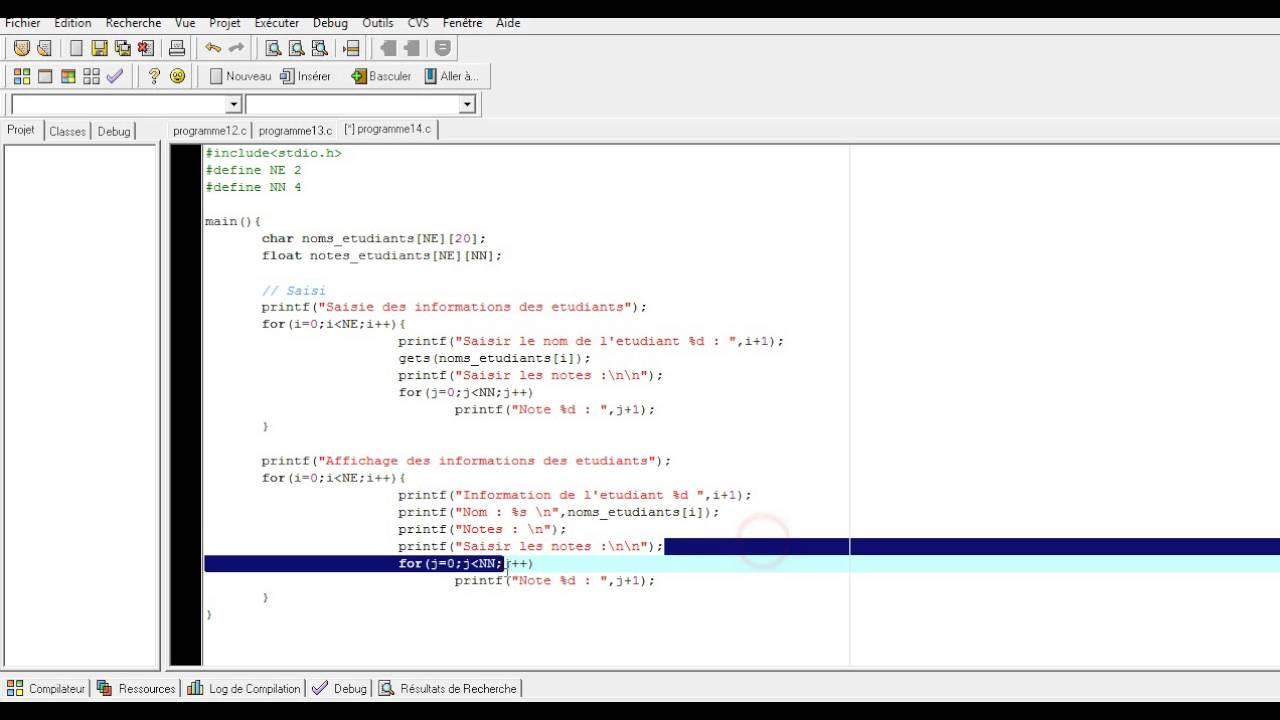 Programmation C 22 Les Tableaux A Deux Dimension Exemple 2