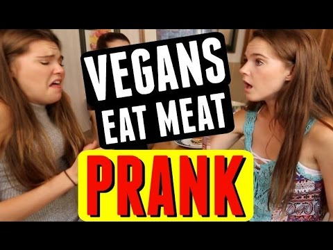 PRANKING VEGANS THEY'RE EATING MEAT!