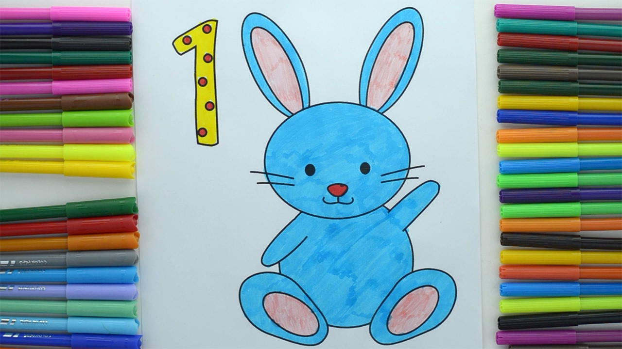 Coloring by numbers for rabbits - Learn Numbers With Colors Easter Bunny