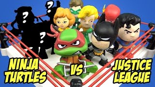 Justice League Toys vs Ninja Turtles Toys SHAKE RUMBLE Fight & Toy Opening by KidCity