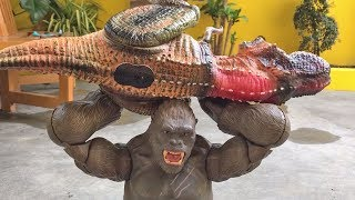 KING KONG vs DINOSAURS Epic Battle! Gorilla Trex fight with snakes and frogs