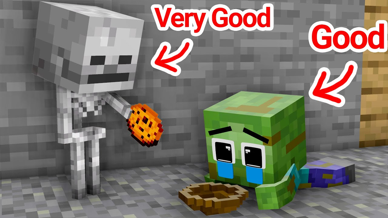 Monster School: BABY SKELETON and Baby Zombie Season 1 All Episode - Sad Story - Minecraft Animation