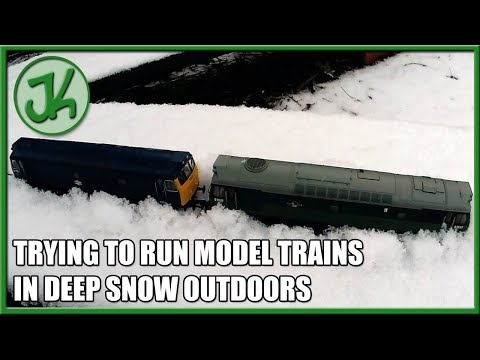 Running model trains in deep snow outdoors
