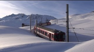 Matterhorn Gotthard Bahn und viel viel Schnee-Eisenbahn,Züge