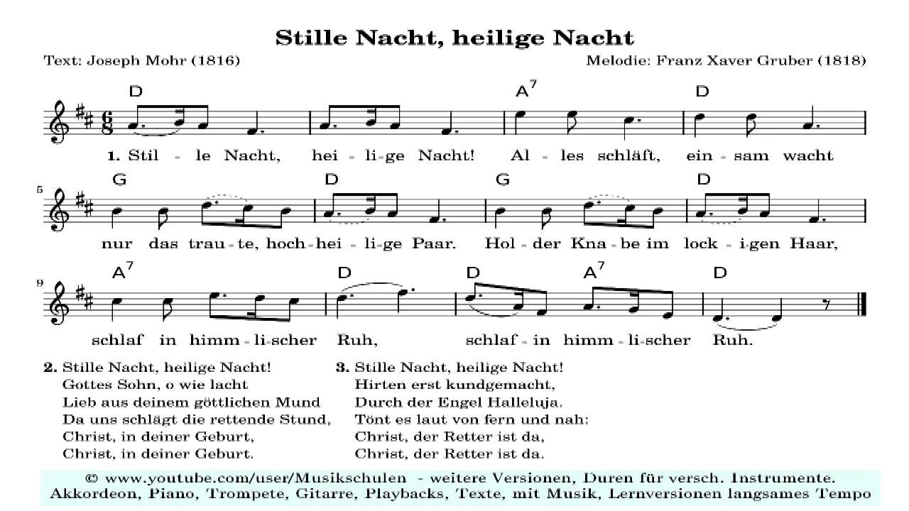 Stille Heilige Nacht in grossen Noten (HD) für (halb) Blinde. Text ...