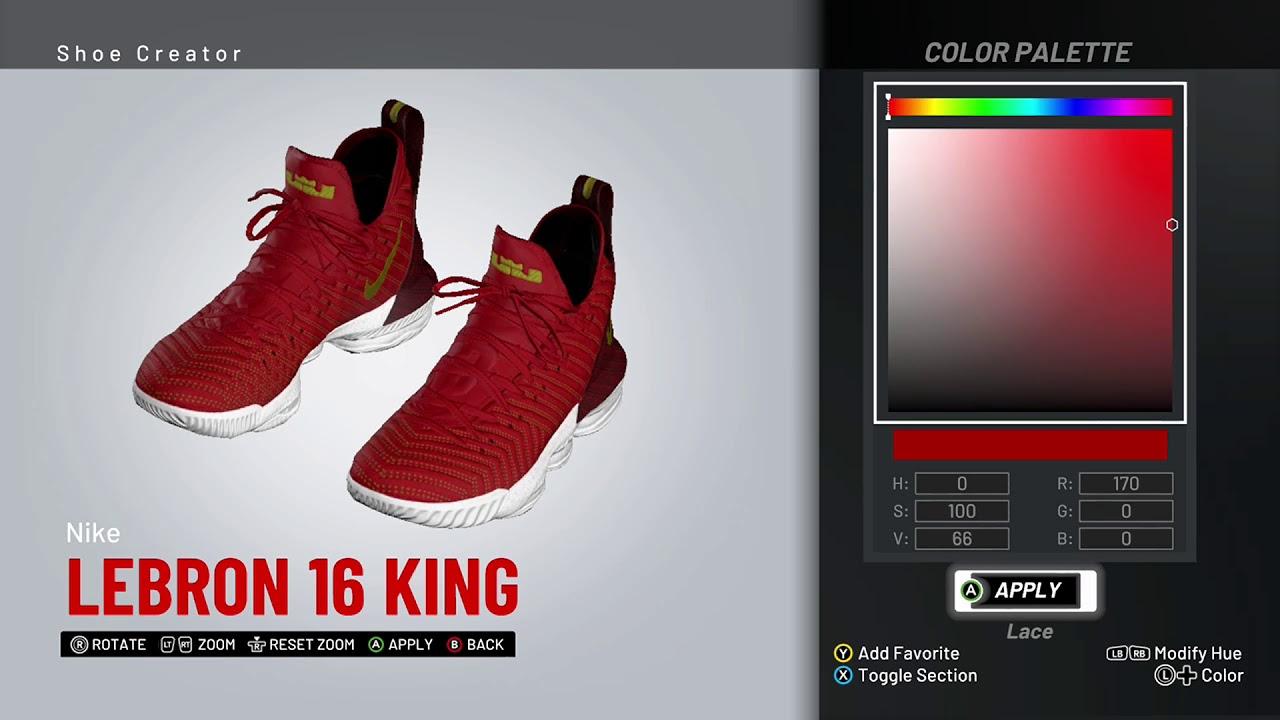 eb2b78777aa5eb NBA 2K19 Shoe Creator - Nike LeBron 16