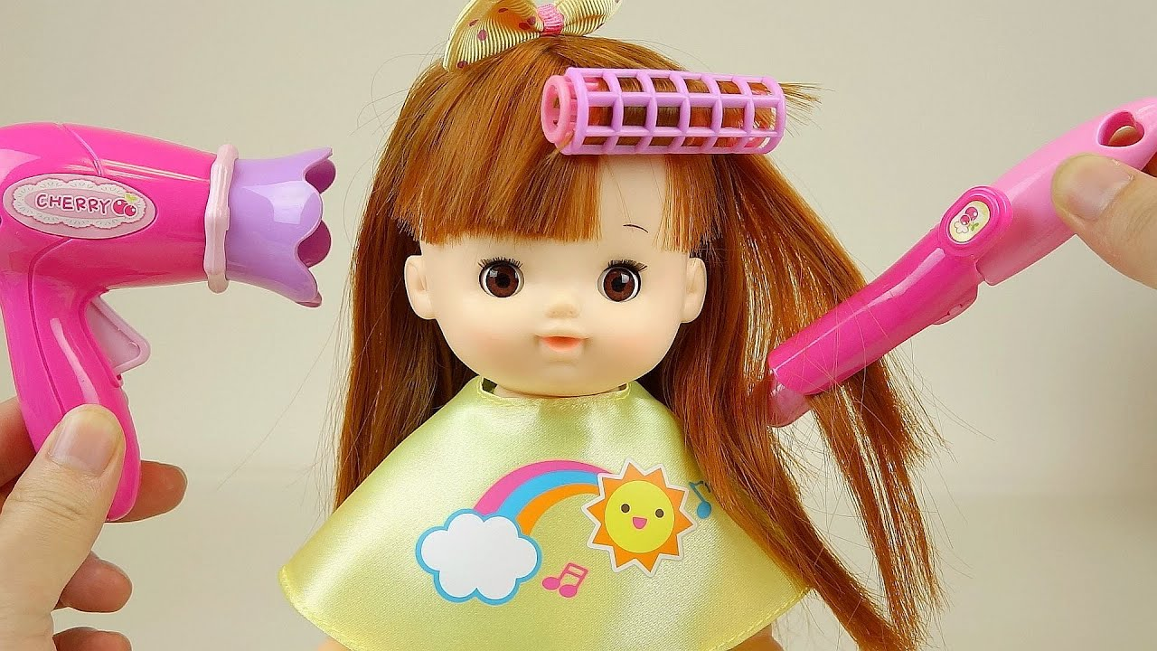 Baby Doll Hair Cut And Hair Wave With Drier Toys Youtube