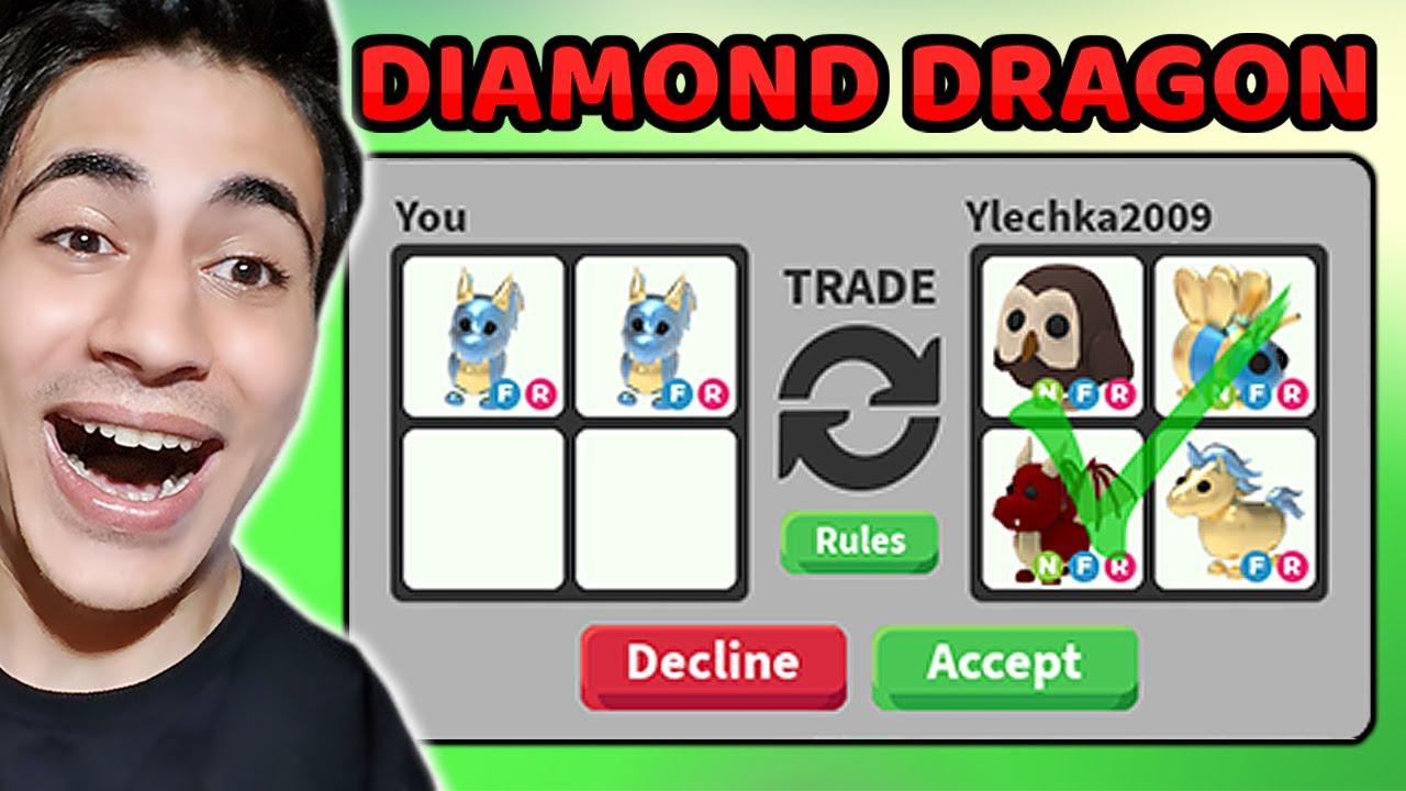 DİAMOND DRAGON TRADE !! NEON SHADOW DRAGON VERDİ Mİ !? ( Roblox Adopt Me )