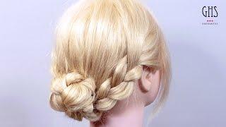 Repeat youtube video 【3つの毛束をクルッと入れるだけ】三つ編みでつくる簡単アップヘアアレンジ