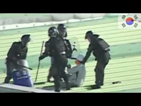 Cảnh Sát Hàn Quốc đổ Bộ Từ Trực Thăng Trấn áp Biểu Tình Tại Nhà Máy Sangyong Motors