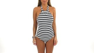 Seafolly Mod Club High Neck Black & White One Piece | Swimoutlet.com