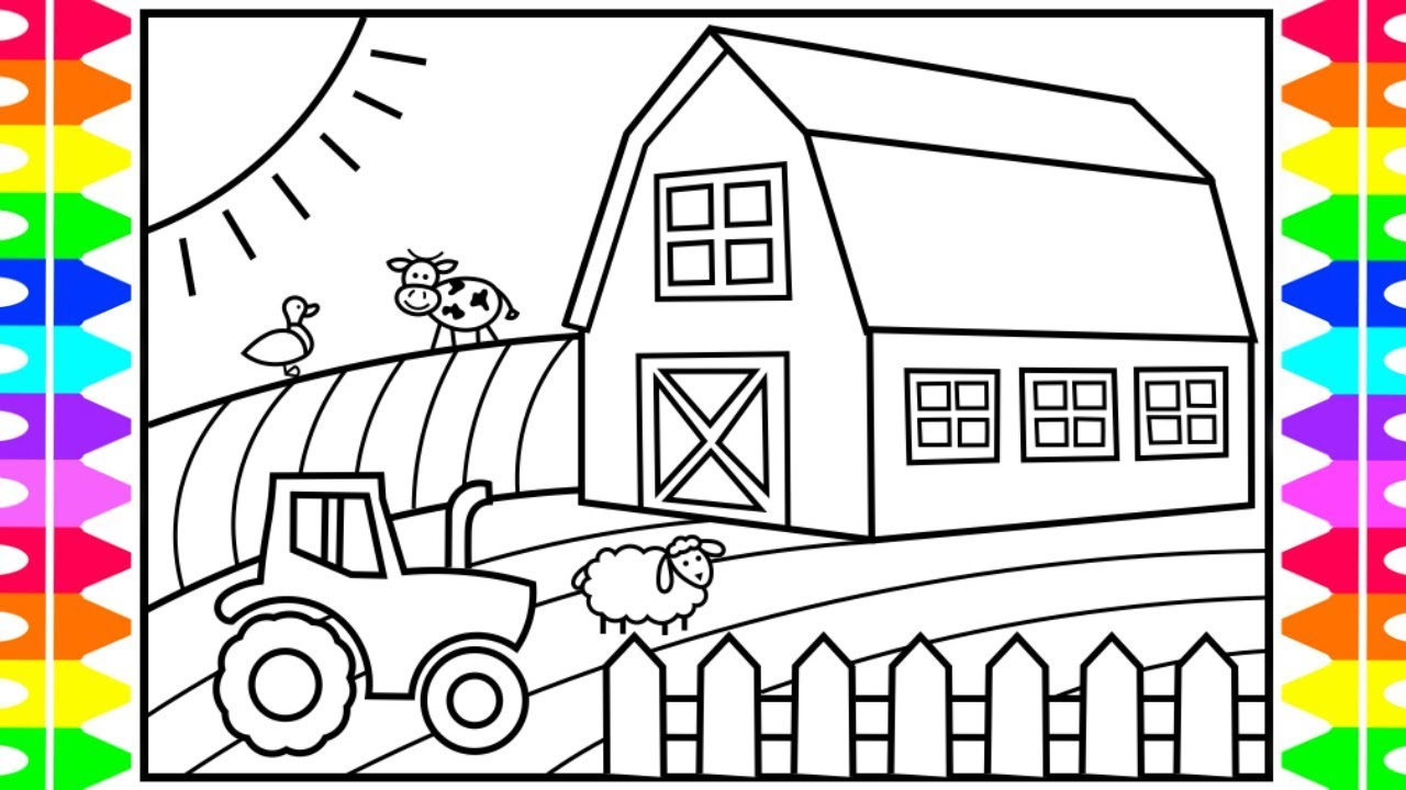 How To Draw A Farmhouse For Kids Farmhouse Drawing And Coloring Pages For Kids Youtube