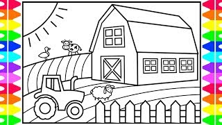How to Draw a Farmhouse for Kids ❤️🧡💚 Farmhouse Drawing and Coloring Pages for Kids